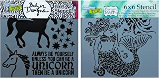 2 Mixed Media Stencils Set   Unicorn, Mermaid Theme   For Card Making, Journaling, Scrapbooking, Arts   6 Inch x 6 Inch Templates