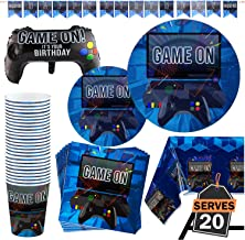 83 Piece Video Gaming Party Supplies Set Including Banner, Plates, Cups, Napkins, Tablecloth, X-Large Joy Stick Controller Balloon - Serves 20