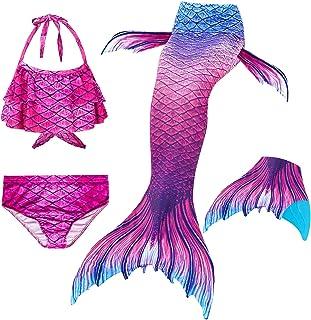 Le SSara 2018 New Muchachas Sirena Tails Bikini Traje de baño 4PCS Traje de baño con Aleta para Nadar Cosplay