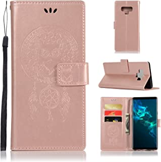 Galaxy Note 9 Case, UZER Owl Windbell Wrist Strap PU Leather Premium PU Leather Kickstand Case with Card Slots & Money Slot Wallet Flip Protective Magnetic Closure Cover for Samsung Galaxy Note 9 6.4