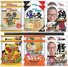 Sapporo Ichiban Instant Ramen Noodle Sample Variety Packs, Miso, Tonkotsu, Shio, Yakisoba, Momosan Tonkotsu, and Momosan C...