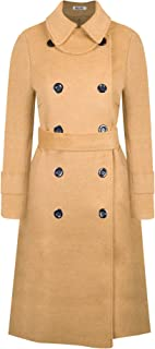 Women's Classic Wool Blend Double Breasted Long Sleeve Pea Coat with Belt Winter Trench Doll Collar