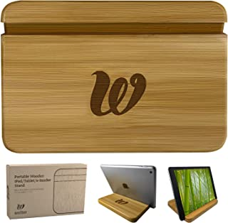 Wooden Tablet Stand - Bamboo Holder iPhone, iPad Air, Samsung Tablet PCs, eReaders, Artwork, Make-up Mirror, Photo Frame - Tab Stand for Kitchen iPad Mini - Portable Desktop Stand HQ (Natural)