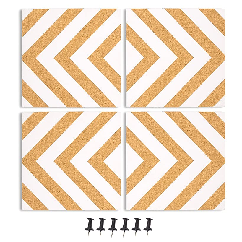 Juvale 4-Pack Cork Bulletin Board - Decorative Tiles Chevron Design Printing - Perfect Pinning Memos Reminders in Your Kitchen, Office Class Room - 7.8 x 7.8 x 0.02 inches