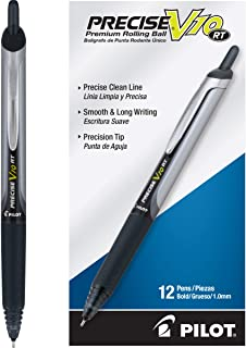 PILOT Precise V10 RT Refillable & Retractable Rolling Ball Pens, Bold Point, Black Ink, 12-Pack (13450)