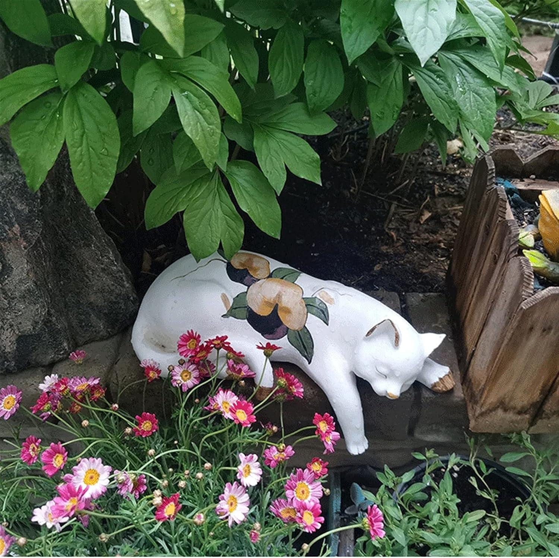 YAOLUU Yard Art Statues Lazy Special Campaign Sculpture Cat White Stat Fashion Animal