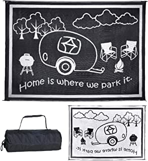 Stylish Camping RH8111 Black/White 8-Feet x 11-Feet RV Home Mat