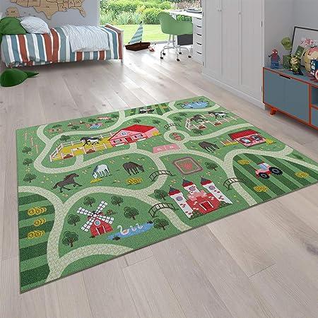 Spielmatte Pflegeleicht Auto-Kinderteppich f/ür M/ädchen /& Jungen 95x200 cm Spielteppich mit Stra/ßen City Fu/ßbodenheizung Geeignet