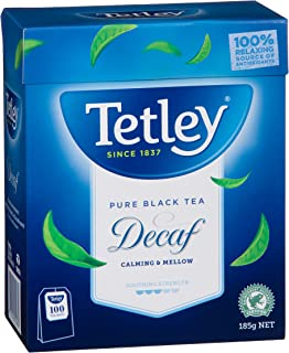 Tetley Decaffeinated Black Tea 100 Tea Bags, 185g