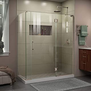 DreamLine Unidoor-X 60 in. W x 30 3/8 in. D x 72 in. H Frameless Hinged Shower Enclosure in Brushed Nickel, E3300630R-04