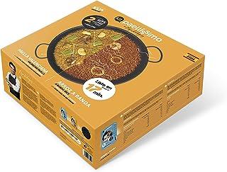Paellíssimo - Pack con 1 PAELLERA para Fuego y Horno (No Inducción) de 32 cm + 2 KIT de ARROZ | Arroz a Banda (2-3 personas) + Paella Valenciana (2-3 personas)