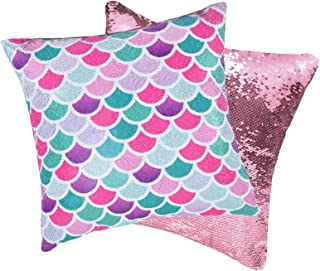 """Mermaid Scale Pillow Cover - 16"""" x 16"""" Set of 2 Pink Square Reversible Sequins Throw Pillow Cases Birthday Xmas Gift Decor..."""