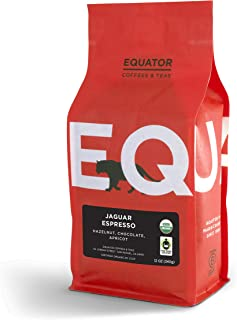 Equator Coffees & Teas Jaguar Espresso, Roasted to Order, Whole Bean Coffee, Fair Trade & Organic, 12 Ounce bag