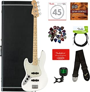 Fender Player Jazz Bass, Maple, Left Handed - Polar White Bundle with Hard Case, Cable, Tuner, Strap, Strings, Picks, Fender Play Online Lessons, and Austin Bazaar Instructional DVD