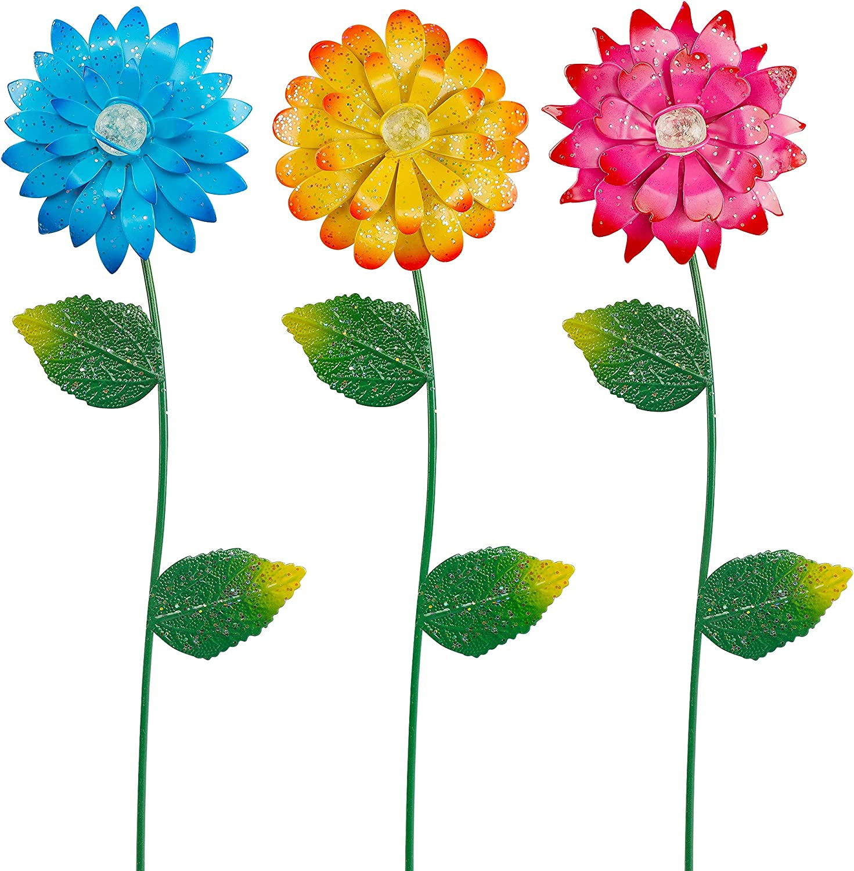 Juegoal 3 Pack Flower Garden Stakes Decor, Outdoor Metal Sunflowers Daisy Shaking Head Glow in Dark Yard Art, Rust Proof Metal Flower Stick, Indoor Outdoor Pathway Patio Lawn Decorations