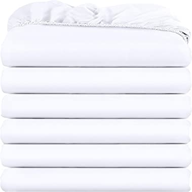 Utopia Bedding Twin Fitted Sheets - Bulk Pack of 6 Bottom Sheets - Soft Brushed Microfiber - Deep Pockets - Shrinkage & F