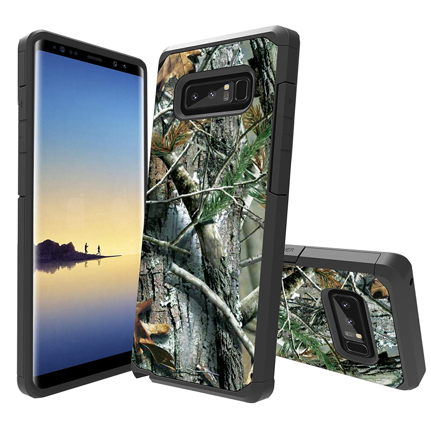MINITURTLE Case Compatible with Samsung Galaxy Note 8 Case[Impact Resistant Silicone Interior][Slim][2-Part Protection] - Tree Camo