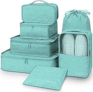 مكعبات الأمتعة، حقيبة ظهر من Mossio 7 قطع معبأة شبكية للسفر حقيبة ظهر منظم أزرق فاتح