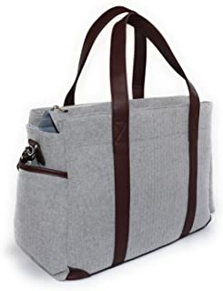 Designer Diaper Bag | Large and Durable | Gender Neutral Tote Bag Includes Changing Pad, Shoulder Strap and Stroller Straps | Extra Pockets For Wipes, Baby Bottles and More!