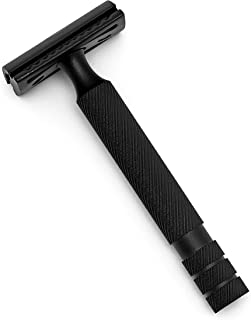 New Double Edge Safety Razor Satin Black Finish Longer Heavier Package Include 10 Stainless Steel Blades and a Leather Pouch