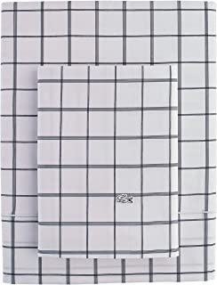 Lacoste Match Point Collection 4-Piece Sheet Set, Queen, Window Pane Navy