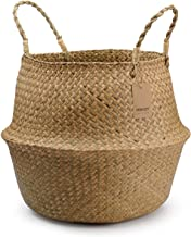 DOKOT Large Woven Seagrass Belly Basket for Plant, Picnic, Toy Organization