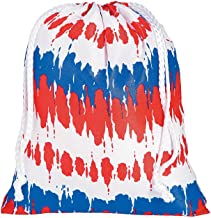 Fun Express Tie-Dyed Patriotic Drawstring Bags | 12 Count | Great for USA or 4th of July Themed Event, Party Favors, Gym Traveling Sports Bag
