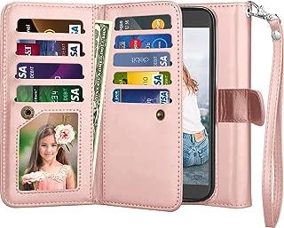 Njjex for LG K10 2017 Wallet Case, for LG K20 V/ K20 Plus/LG V5/LG Harmony Case, Premium [9 Card Slots] PU Leather Flip Kickstand Detachable Magnetic Protective Case Cover & Wrist Strap [Rose Gold]