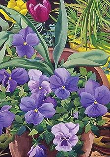 Toland Home Garden Flowerpots n Pansies 12.5 x 18 Inch Decorative Spring Potted Pansy Flower Garden Flag