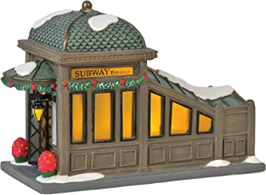 "Department 56 Christmas in The City Village Accessories 56th Street Subway Station Lit Figurine, 4.75"", Multicolor,6000578"