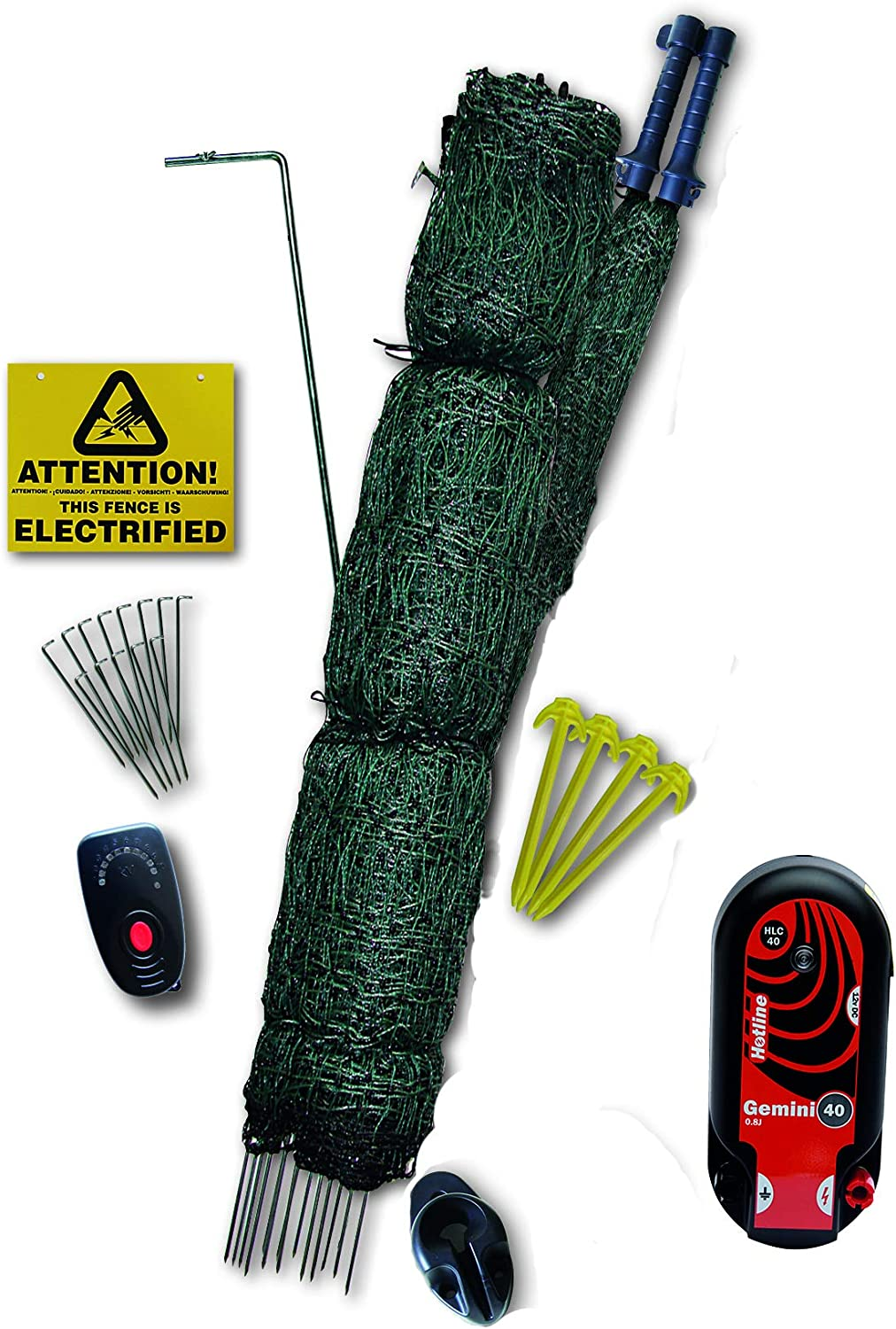 Hotline 25 METER x 1.22 METER HIGH PREMIUM FOX BUSTING POULTRY NETTING KIT WITH CLOSE MESH (Battery or Mains Powered)