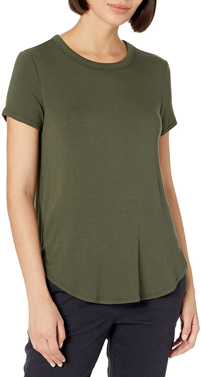 Daily Ritual Women's Supersoft Terry Relaxed-Fit Short-Sleeve Shirt with Shirttail Hem
