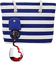 PortoVino Beach Tote - Wine Handbag with Hidden, Insulated Compartment, Holds 2 Bottles of Wine! Blue & White