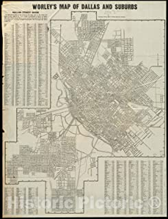 Historic Pictoric Map, 1918 Worley's map of Dallas and suburbs, Vintage Wall Art : 44in x 59in