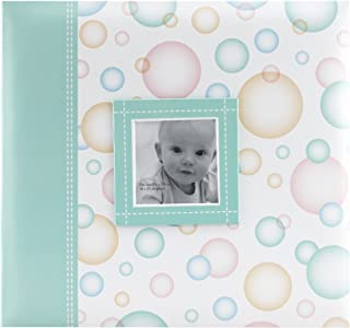MCS MBI 12.5x13.5 Inch Baby Scrapbook Album with 12x12 Inch Pages with Photo Opening, Green Circle Design (860073)