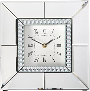 Howard Elliott 99175 Mirrored Table Clock with Beaded Glass Trim