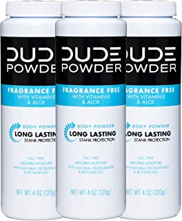 DUDE Body Powder, Fragrance Free 4 Ounce (3 Bottle Pack) Natural Deodorizers With Chamomile & Aloe, Talc Free Formula, Cor...