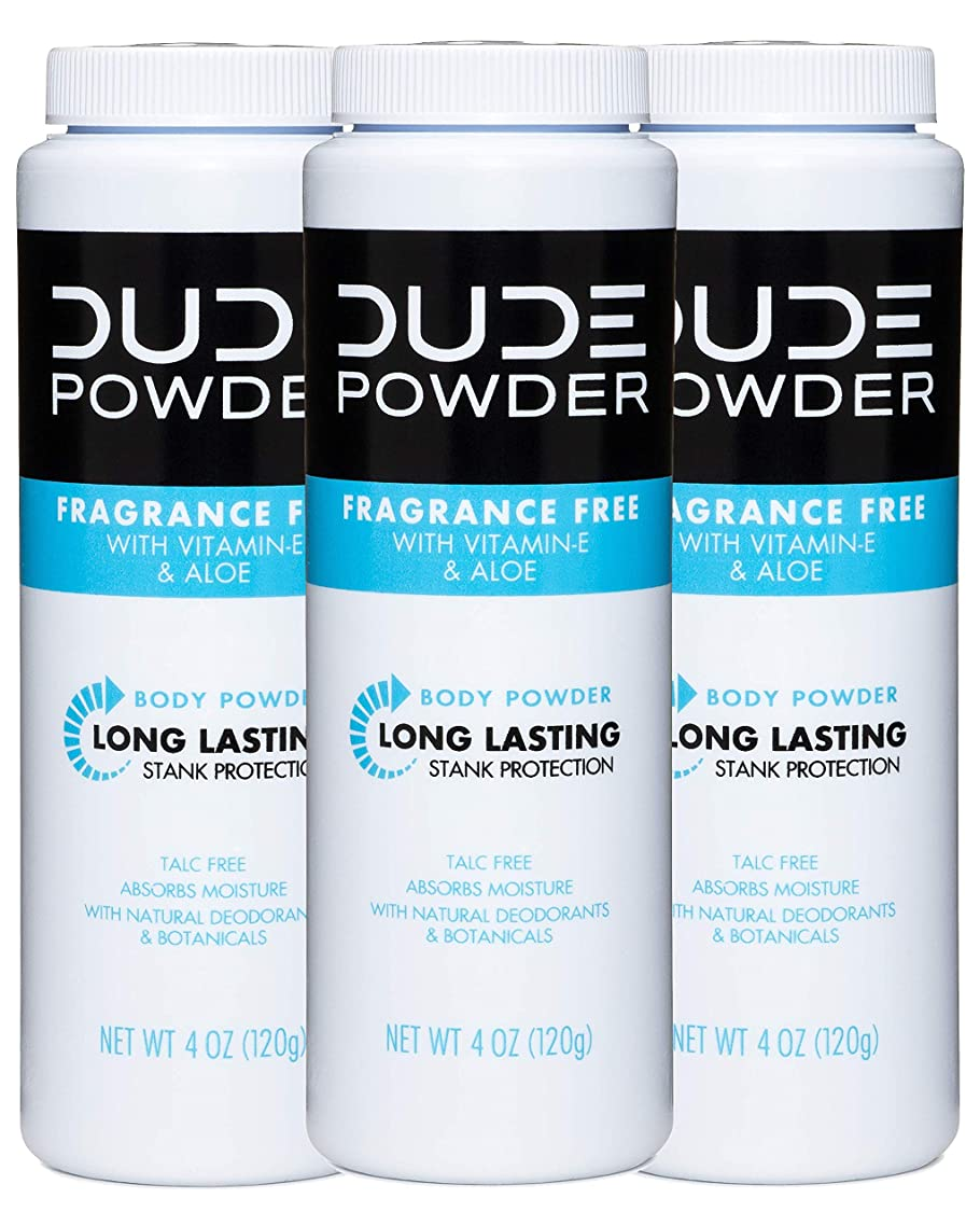 DUDE Body Powder, Fragrance Free 4 Ounce (3 Bottle Pack) Natural Deodorizers With Chamomile & Aloe, Talc Free Formula, Corn-Starch Based Daily Post-Shower Deodorizing Powder for Men