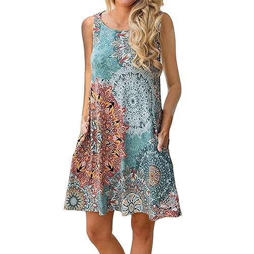 d256595dd24f5 Silvous Women's Sleeveless Damask Floral Sun Dress Swing Midi Pockets  T-Shirt Dress