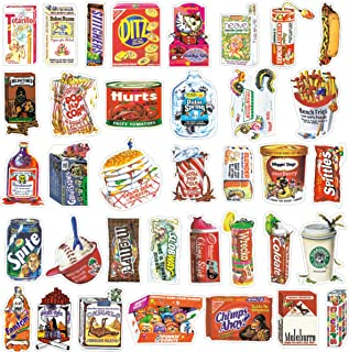 38 Pcs Waterproof Vinyl Stickers, Food Sticker Set Laptop Car Helmet Luggage Skateboard Computer Keyboard Fridge Personalize Decals Decoration