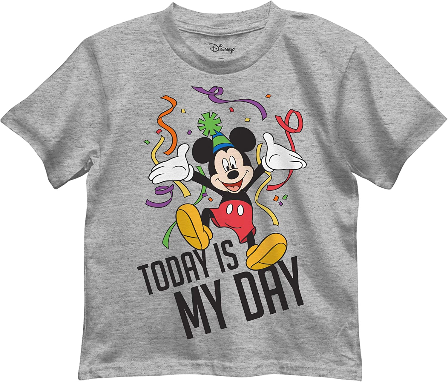 Disney Boys' Mickey Mouse Today is My Day Birthday Graphic Tee T-Shirt