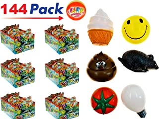 JA-RU Splat Ball Sticky & Stretchy (Pack of 144 with 6 Display Boxes) and 1 Bouncy Ball Rat, Poo, Happy Face, Bulb, Tomato, Ice Cream. N5303-144p
