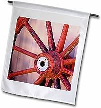 3dRose Farm, Western waggon wheel, Santa Fe, New Mexico - US32 JMR0412 - Julien McRoberts - Garden Flag, 30cm by 46cm