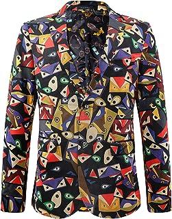 Sliktaa Men's Blazer Funky Printed Slim Fit Notched Lapel One Button Fitted Sport Jacket Coat Party Wear