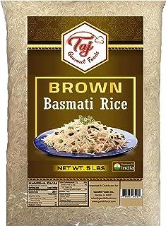 TAJ Gourmet Brown Basmati Rice, Naturally Aged, 5-Pounds