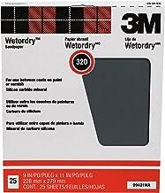 3M Folhas de lixamento Pro-Pak Wetordry Between Finish Coats, 320A-Grit, 22,86 cm x 28,94 cm, 25 folhas