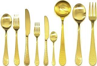 Mepra Coccodrillo Ice Oro 39 Pcs Flatware Set-Metallic Tableware, Dishwasher Safe Cutlery