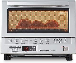 کوره توستر فشرده پاناسونیک FlashXpress با گرمایش مضاعف مادون قرمز ، سینی خرده نان و 1300 وات قدرت پخت و پز - 4 اجاق گاز توستر برقی Countertop - NB-G110P (استیل ضد زنگ)