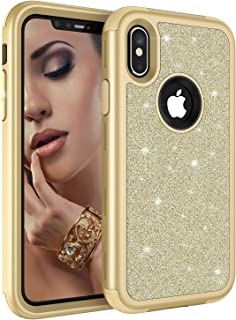iPhone XS Case,iPhone X Case,UZER Three Layer Shockproof Luxury Glitter Sparkle Bling Diamond Hard PC Soft Silicone Combo Hybrid Impact Defender Protective Case Cover for iPhone XS 2018/ iPhone X 2017