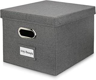 Beautiful File Organizer Box - Collapsible Linen Filing Box for Easy File Folder Storage - Organize Your Documents and Hanging Files in Style